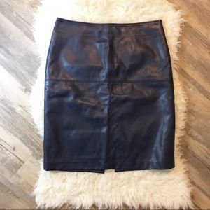 Tribal navy leather skirt